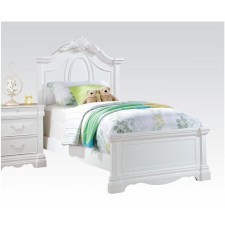 ACME Estrella Full Panel Bed with Drawer in White Pine wood Pine Log Bed
