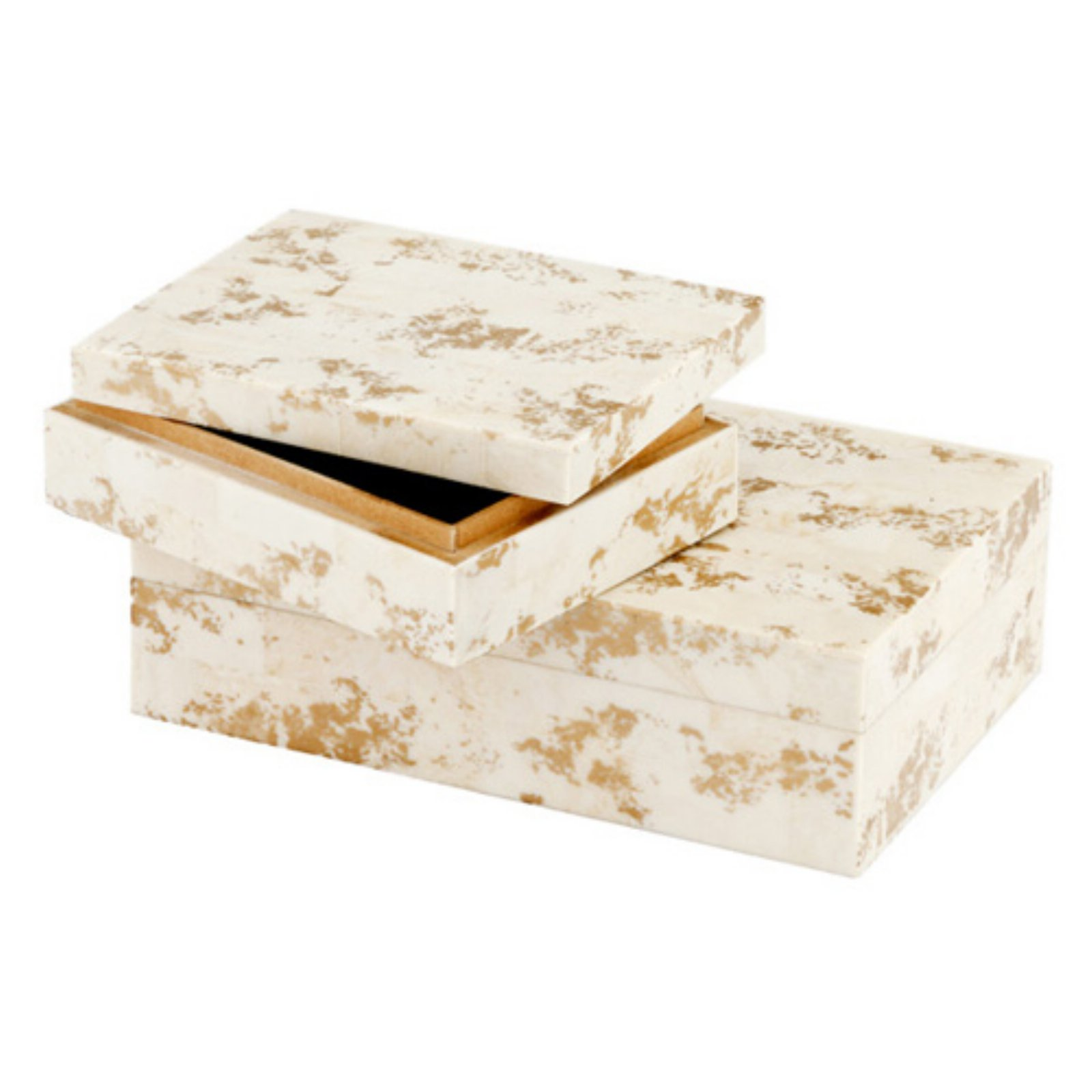 Modern Day Accents Huseo Blanco Golden Bone Boxes - Set of 2