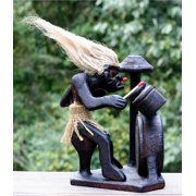 Primitive Tribal Statue with Drum Kit Tiki Bar Drummer Band Unique Gift