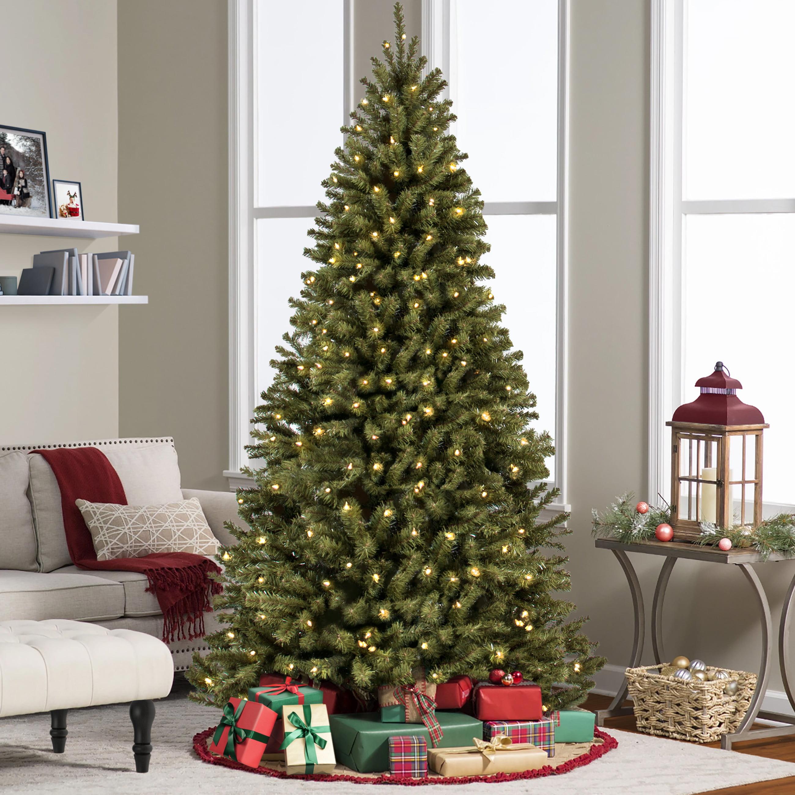 HomCom 7' Artificial Rotating Pre-Lit 4-Color LED Christmas Tree ...