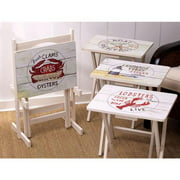 Wooden Set of 4 TV Tray Tables With Stand Nautical TV Tray Set with Stand (S/4)