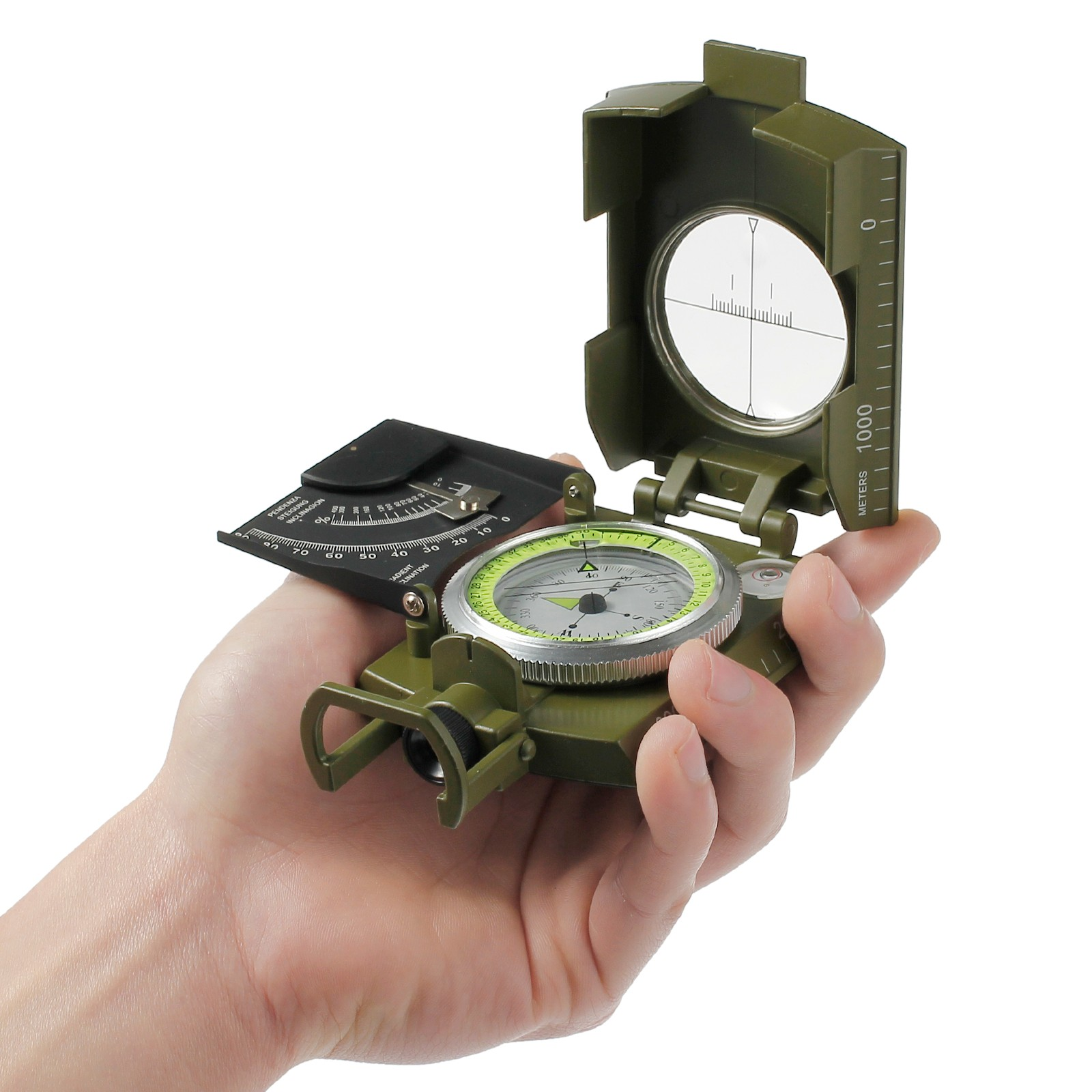 ESYNIC Compass Map Compass Military Army Metal Sighting Compass Folding Pocket Size Navigation Compass for Camping Hiking Hunting Outdoor Activities Directions with Carry Bag