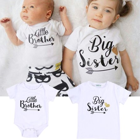 Newborn Baby Boys Girls Jumpsuit Little Brother Romper Big Sister Matching T-shirt Tops Clothes Outfits