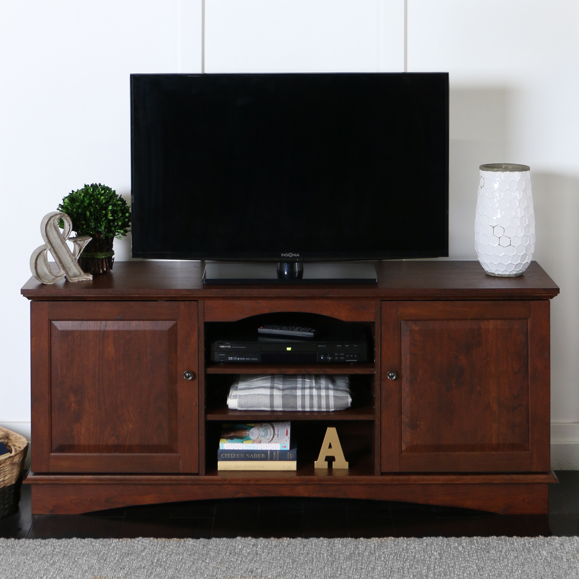 """Walker Edison Brown TV Stand for TVs up to 65"""", Multiple Colors"""