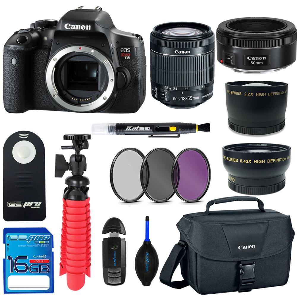 Canon EOS Rebel T6i DSLR Digital Camera + 18-55mm EF-S f/3.5-5.6 IS II Lens + Canon EF 50mm f/1.8 STM Lens + Pixi Basic - Accessory Bundle Kit