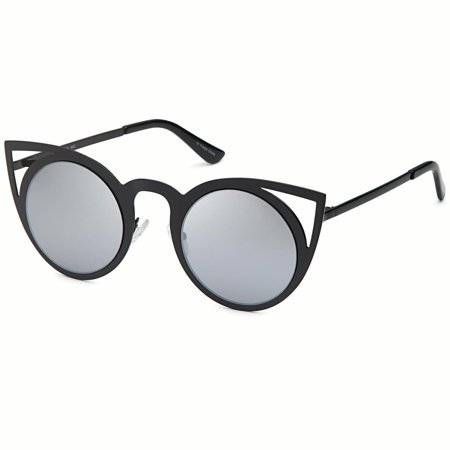 4d0092a3c4f CATWALK - CATWALK Womens Cat Eye Metal Cut Out Fashion Frame Round  Sunglasses with Mirror Flash Lens Option - Mirror Silver Lens on Black  Frame - Walmart. ...