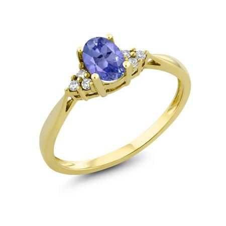 - 0.45 Ct Oval Blue Tanzanite and Diamond 14K Yellow Gold Ring