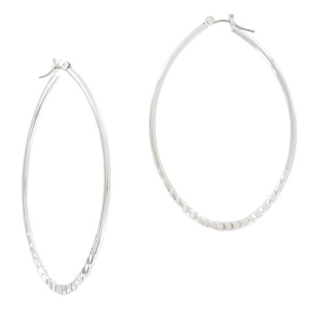 Silver Tone Oversized Hoop Ribbed Detail Teardrop Earrings Large 2 3/4