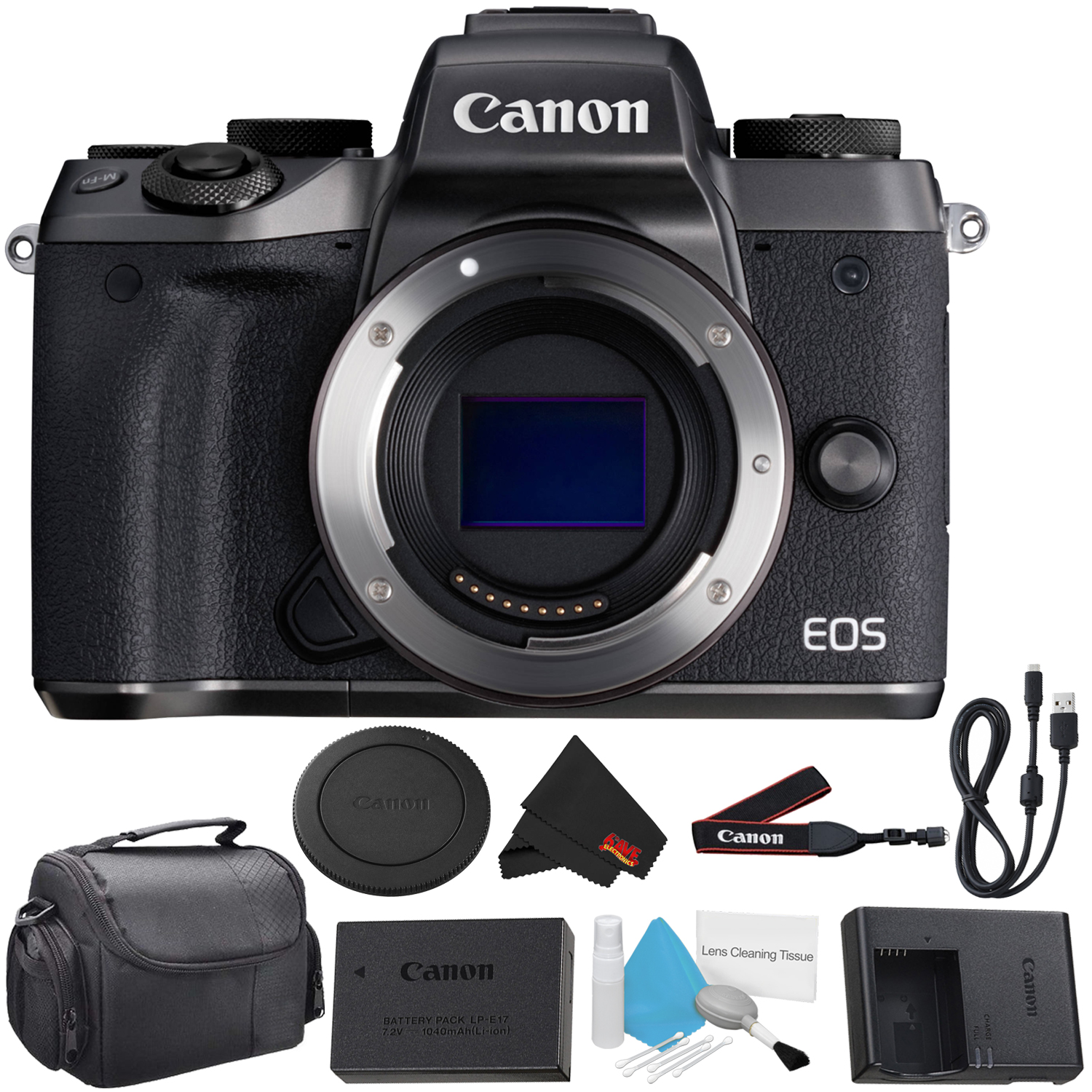 Canon EOS M5 Mirrorless Digital Camera Body - Bundle with 32GB Memory Card, Carrying Case + More (Intl Model)