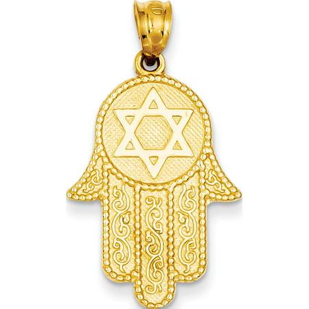 Leslies Fine Jewelry Designer 14k Yellow Gold Hamsa w/Star of David (18x26mm) Pendant Gift