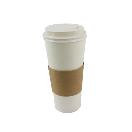 50 Sets Coffee Cups Disposable with Lids & Sleeves Hot Coffee Cups with Lids & Sleeve Holders (24oz)](Coffee Sleeves)