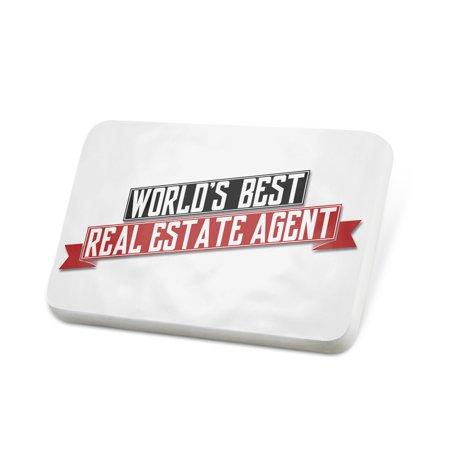 Porcelein Pin Worlds Best Real Estate Agent Lapel Badge –