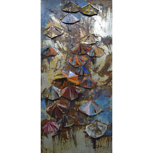 Empire Art Direct ''Umbrellas'' Mixed Media Iron Hand Painted Dimensional Wall D cor