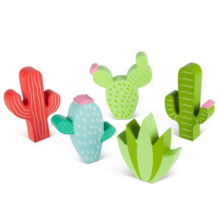 Cactus Figurine (Assorted Wooden Cactus Figurines in Multiple Colors (Set of 5) )