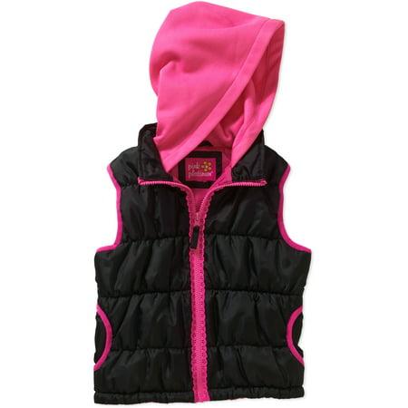 Fleece Zipper Vest - pink platinum girls' lace zipper fleece hood vest with pockets