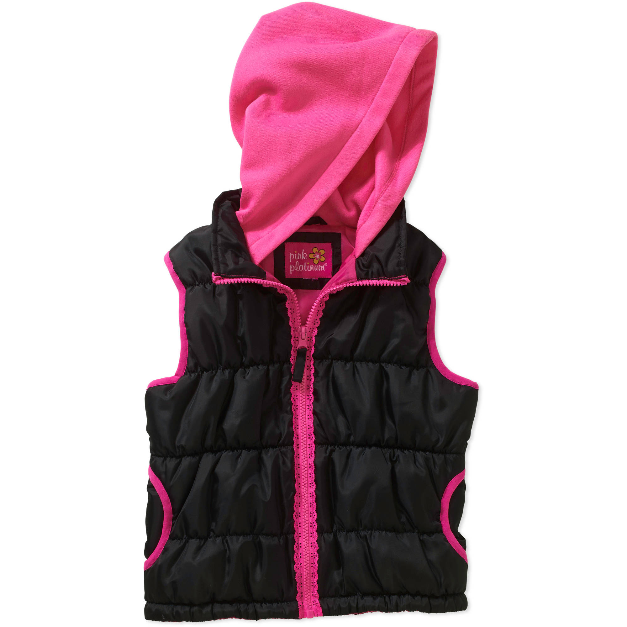 Pink Platinum Girls 4-6X Lace Puffer Jacket