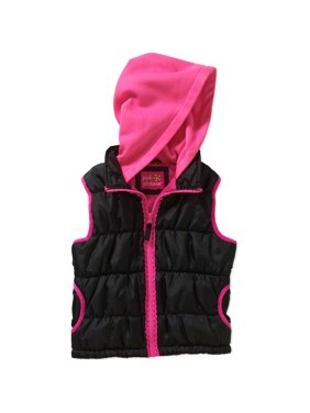 pink platinum girls' lace zipper fleece hood vest with pockets