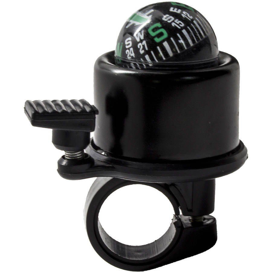 Rotating Aluminum Compass Bicycle Bell, Black