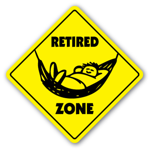 RETIRED ZONE Sign xing gift novelty things to do golf retirement who cares why