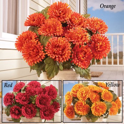 Floral Mums Artificial Maintenance-Free Flower Bush - Set of 3, Red