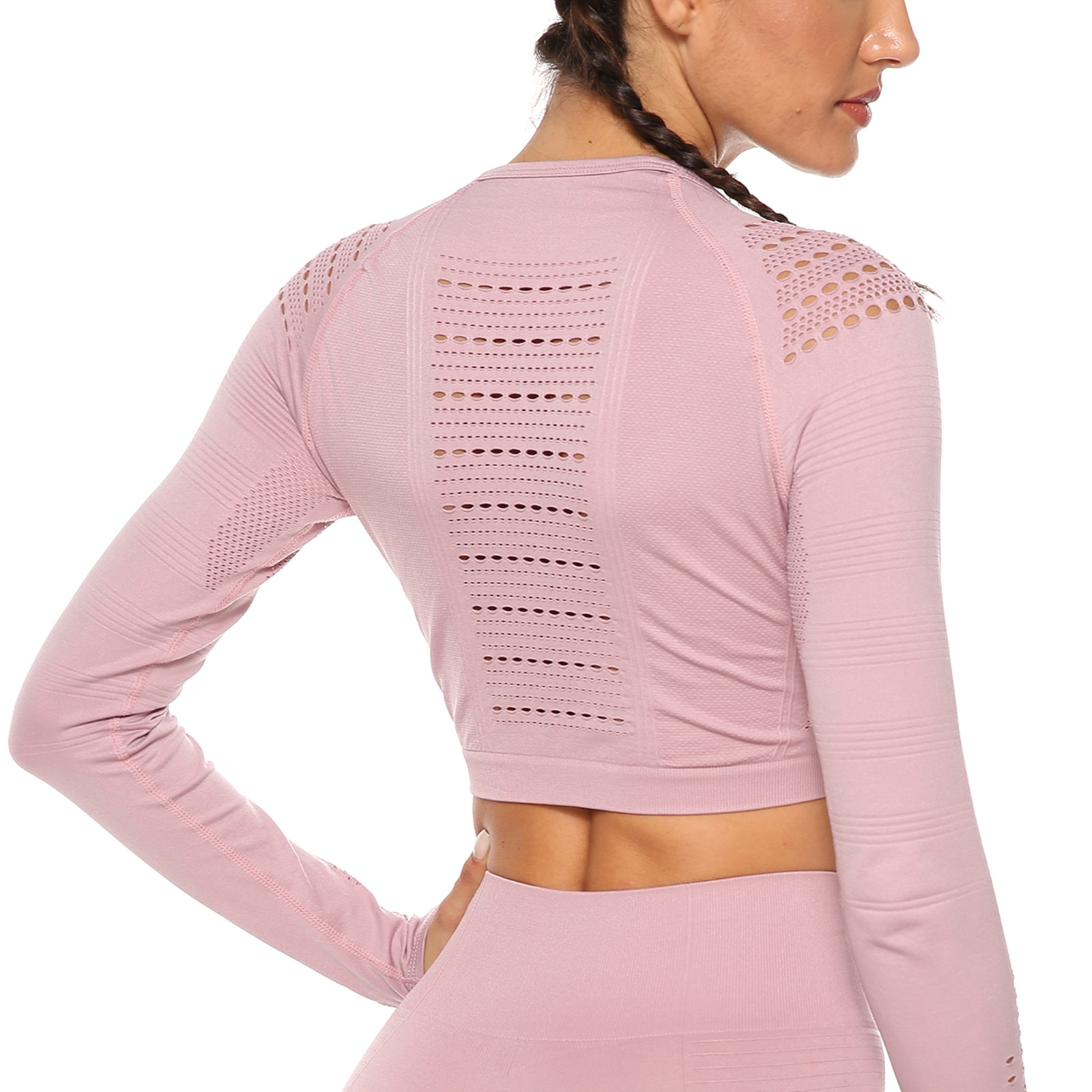 Womens Seamless Athletic Long Sleeves Yoga Shirt Breathable Quick Dry Running Sports Gym Workout Top