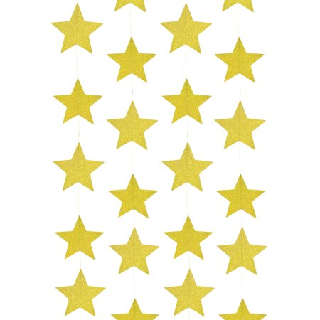 Star Themed Wedding Decorations (Wrapables® 26ft Total Paper Star Garland Party Decorations for Weddings, Birthday Parties, Baby Showers, and Nursery Décor (Set of 2), Gold)