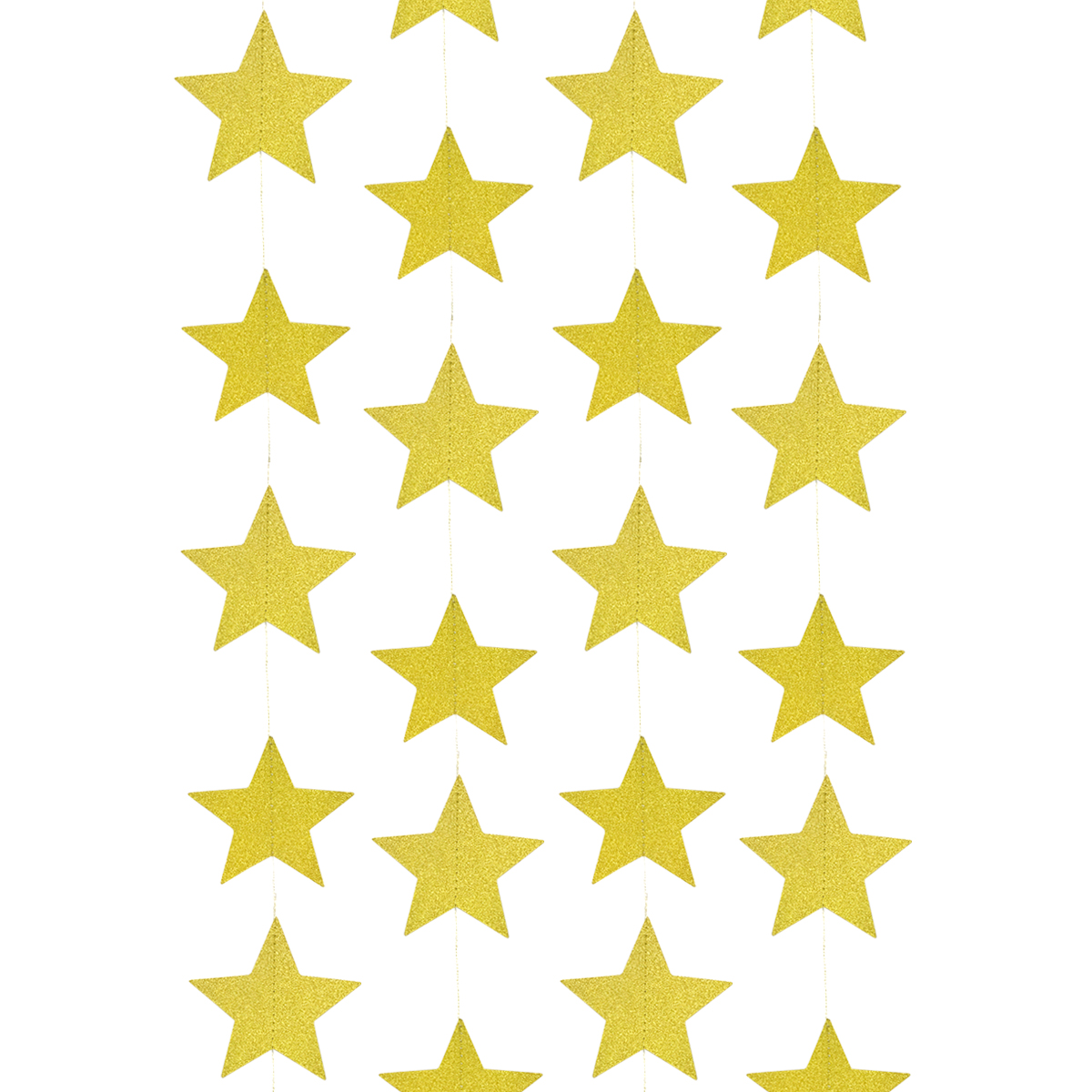 Wrapables® 26ft Total Paper Star Garland Party Decorations for Weddings, Birthday Parties, Baby Showers, and Nursery Décor (Set of 2), Gold Shimmer