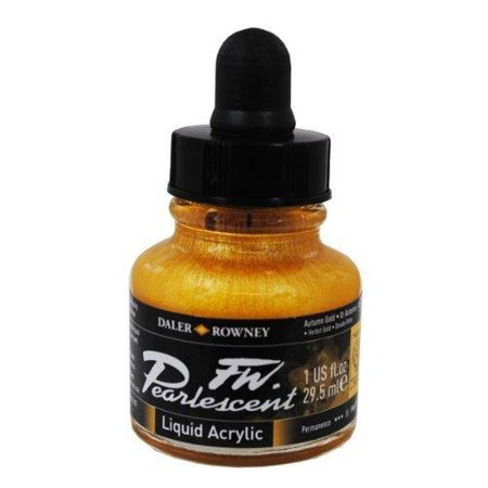 Daler-Rowney FW Pearlescent Liquid Acrylic, 1 oz. Bottle, Autumn Gold