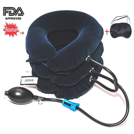 JDOHS Inflatable Neck Traction Cervical Neck Traction Device, FDA Approved Adjustable Neck Pillow and Brace for Neck Head & Shoulder Pain Relief Plus Free Bonus Sleep Mask