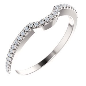 FB Jewels 14k White Gold Polished 1/8 CTW Diamond Wedding Ring Band Size 7