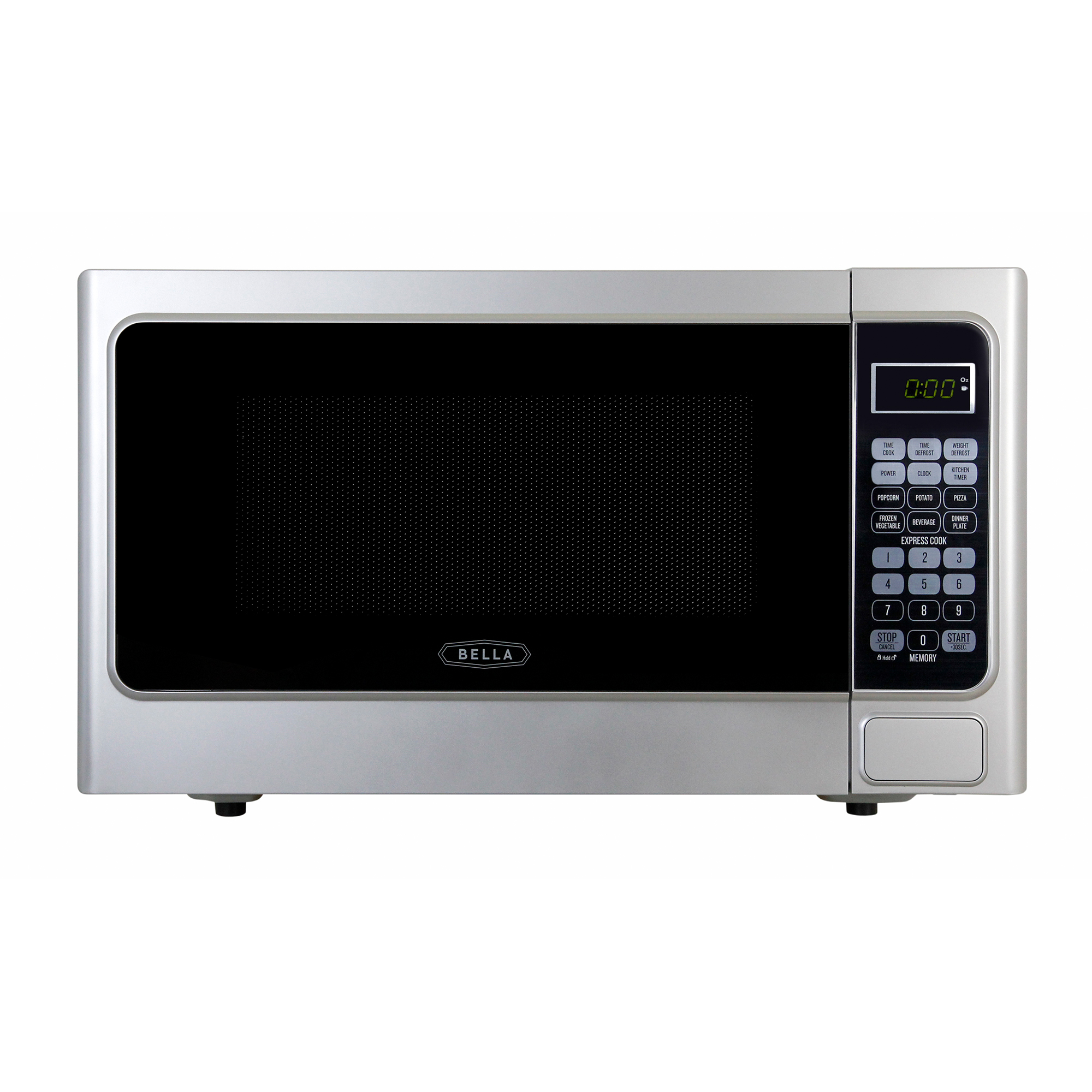 Bella 1.1 Cubic Foot 1000 Watt Microwave Oven in Platinum Silver