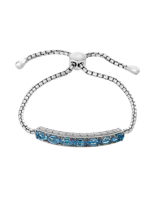 Blue Topaz and Sterling Silver Bolo Bracelet