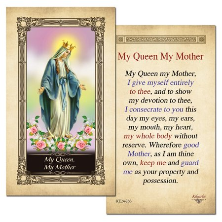 My Queen My Mother Laminated Holy Card - Pack of