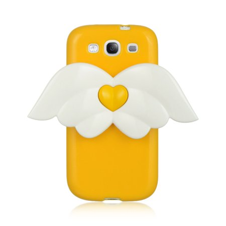 Insten Angel 3D Hard Snap On Back Cover Protective Case For Samsung Galaxy S3 I747 - Yellow/White - Samsung S3 Case