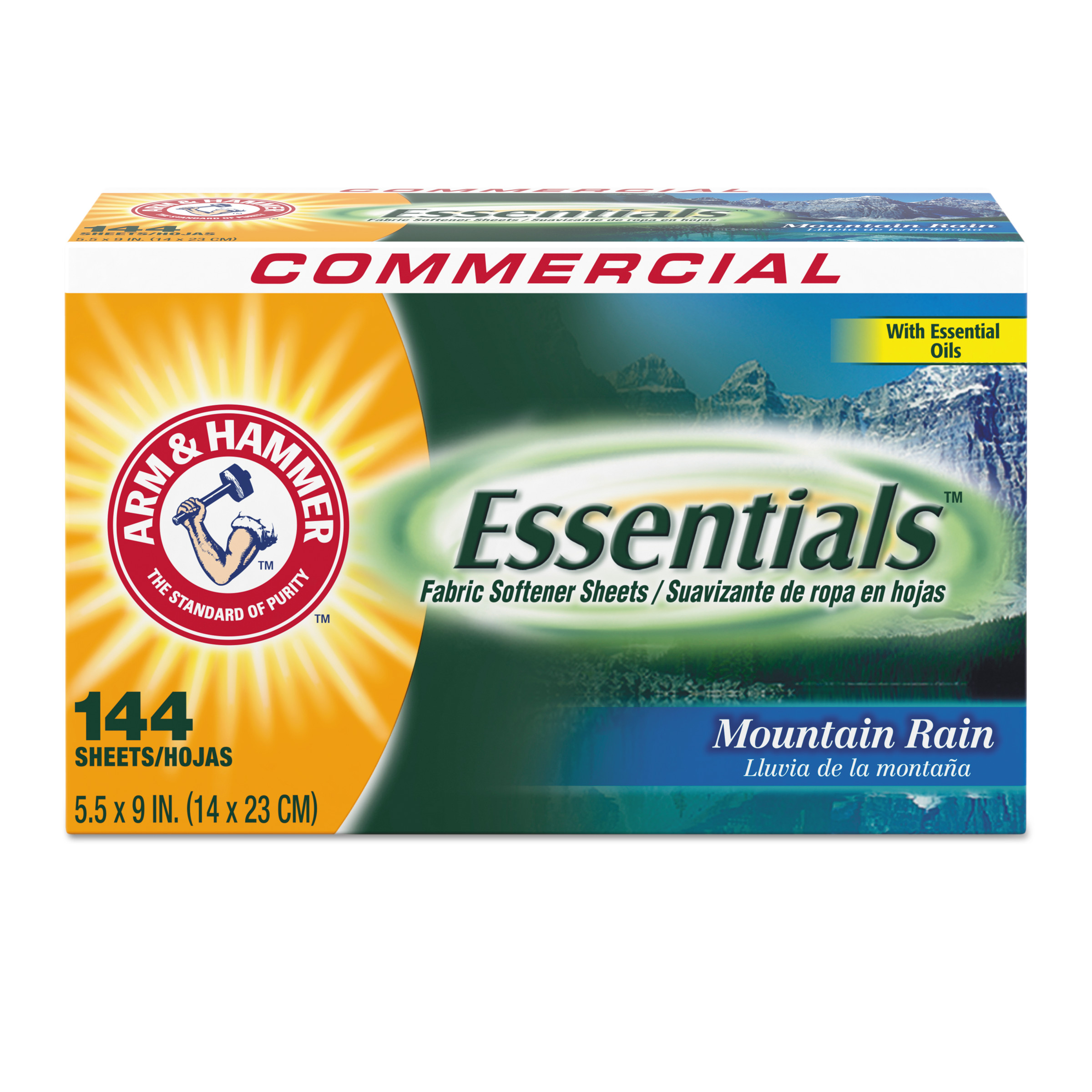 Arm & Hammer Essentials Mountain Rain Fabric Softener, 144 sheets, 6 count