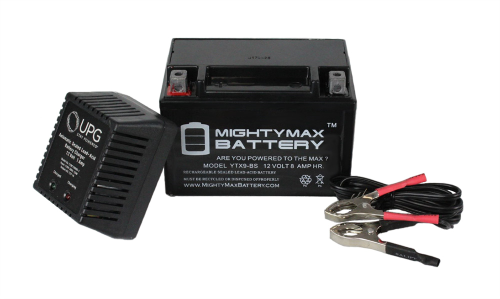 YTX9-BS Battery for GSF600S Bandit 1996-03 + 12V 1Amp Charger by Mighty Max Battery
