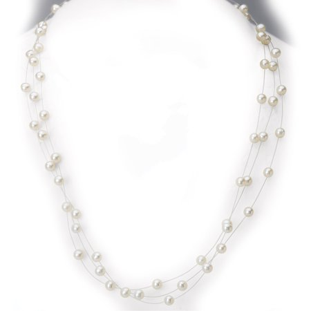 14K Yellow Gold Freshwater Pearl Triple Strand Illusion Necklace (5 mm)