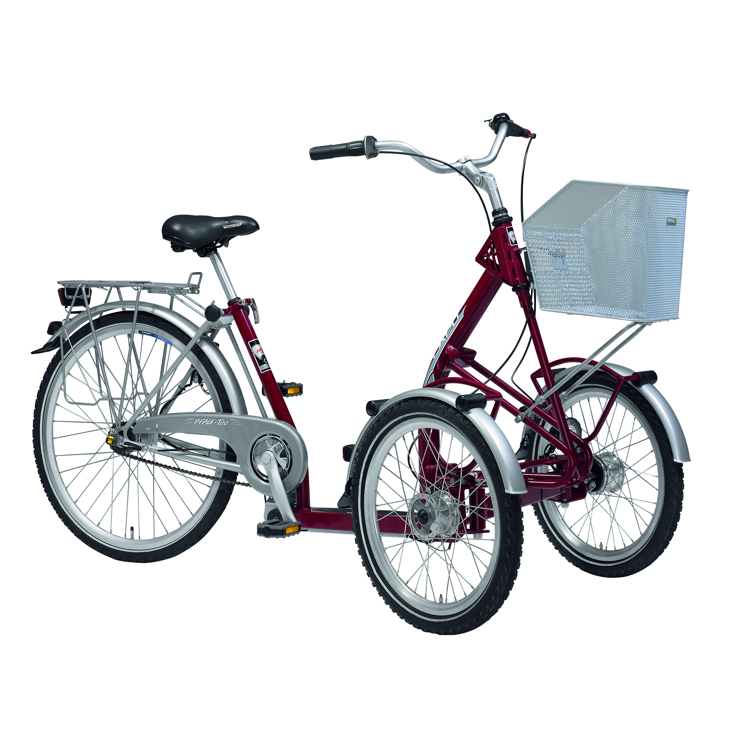 "PFIFF Capo Adult Front Tricycle, 20"" and 26"" Wheels, Maroon"