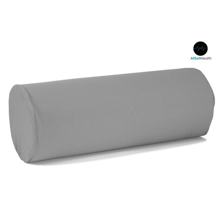 Round Cervical Roll Bolster Pillow Cushion with Removable Washable Cover; Gray