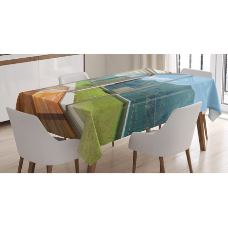 Landscape Tablecloth, Apartment Villa with Patio and Garden Mountain Ocean Sunny Image, Rectangular Table Cover for Dining Room Kitchen, 60 X 90 Inches, White Forest Green and Blue, by Ambesonne for $<!---->