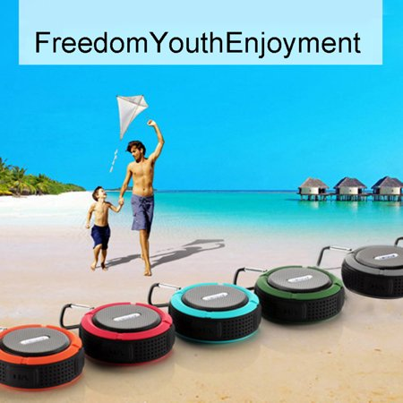 Mystoredirect Mini Portable Speaker Waterproof Suction Cup Wireless Bluetooth Three Anti-plug Card Small Stereo Outdoor Portable Handsfree Call Speaker Mic Shower Car