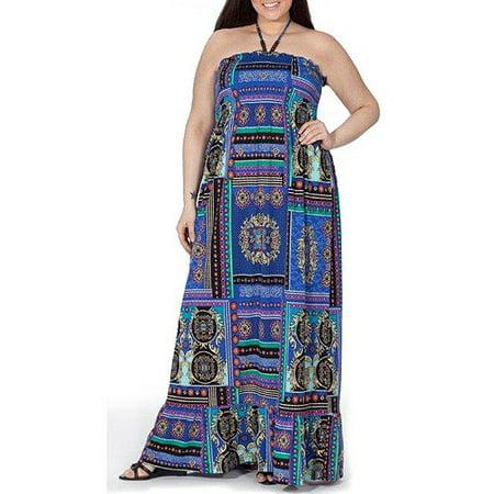 Plus Moda - Plus Moda Women\'s Plus-Size Smocked Knit Maxi Dress with ...