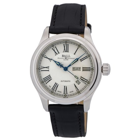 Ball Trainmaster Roman Automatic Mens Strap Watch Day Date NM1058D-L4J-WH