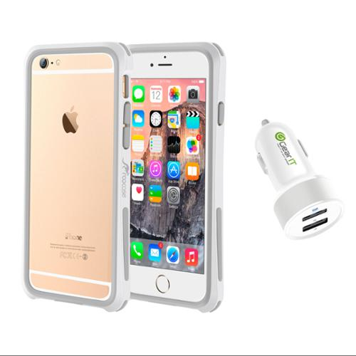iPhone 6 Case Bundle (Case + Charger), roocase iPhone 6 4.7 Linear Bumper Open Back with Corner Edge Protection Case Cover with White 4.4A Car Charger for Apple iPhone 6 4.7-inch, White