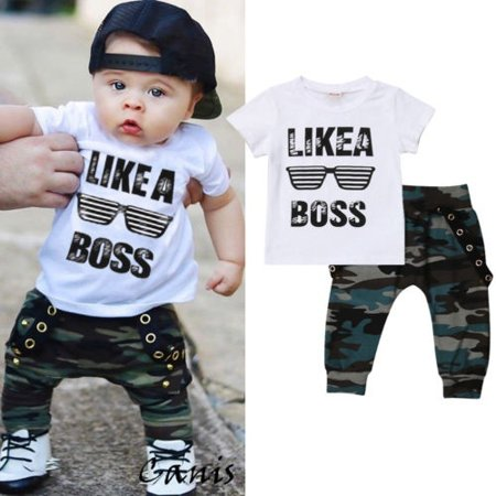 2Pcs Baby Boy Fashion Cotton T-shirt Camoflage Pants Outfits Summer Clothes Set thumbnail