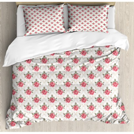 Floral King Size Duvet Cover (Floral King Size Duvet Cover Set, Damask Pattern Inspired Vintage Style Retro Blomed Rose Figure, Decorative 3 Piece Bedding Set with 2 Pillow Shams, Sage Green Brown and Dark Coral, by Ambesonne )