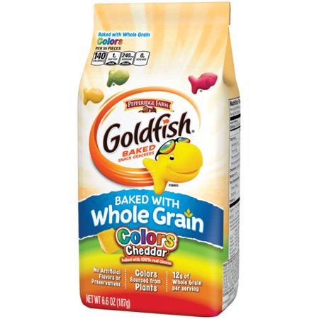 (Pepperidge Farm Goldfish Baked with Whole Grain Colors Cheddar Crackers, 6.6 oz. Bag)