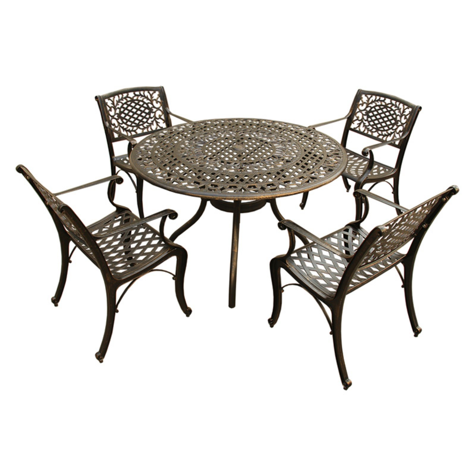 Oakland Living Ornate Mesh Lattice Aluminum 5 Piece Patio Dining Set