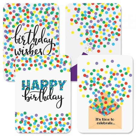Confetti Wishes Birthday Greeting Cards