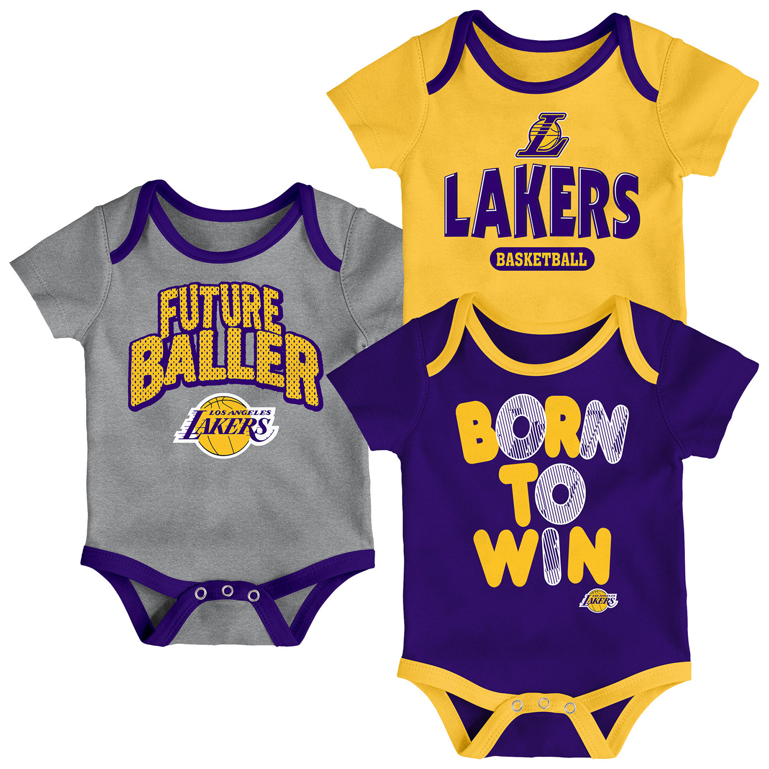 Los Angeles Lakers Newborn Little Fan Three-Pack Bodysuit Set - Purple/Yellow/Heathered Gray